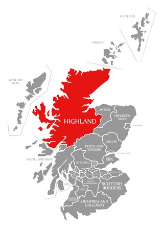 Highland red highlighted in map of Scotland UK