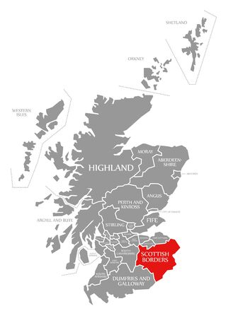 Scottish Borders red highlighted in map of Scotland UK Imagens