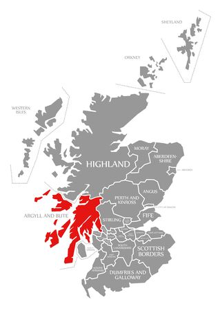 Argyll and Bute red highlighted in map of Scotland UK