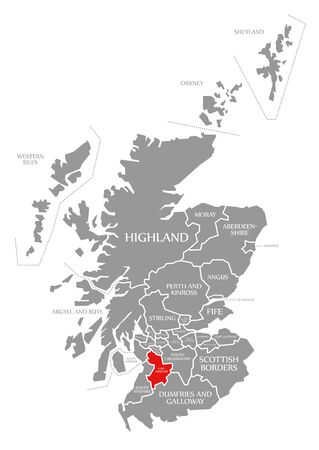 East Ayrshire red highlighted in map of Scotland UK