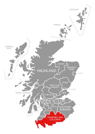 Dumfries and Galloway red highlighted in map of Scotland UK