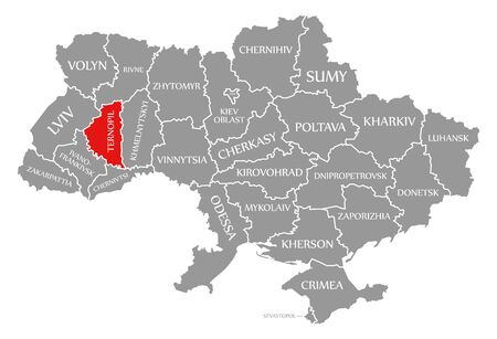 Ternopil red highlighted in map of the Ukraine Reklamní fotografie