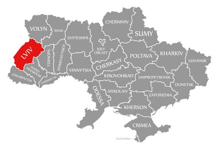 Lviv red highlighted in map of the Ukraine
