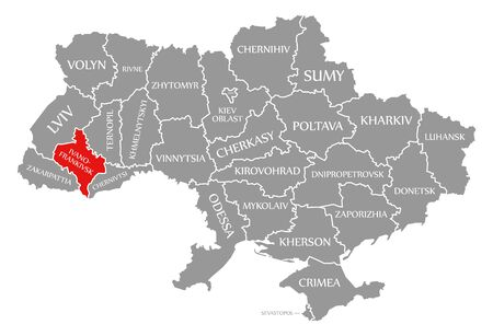Ivano Frankivsk red highlighted in map of the Ukraine