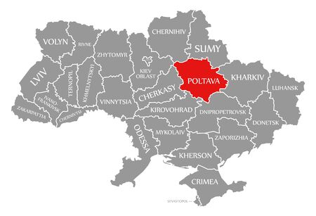 Poltava red highlighted in map of the Ukraine