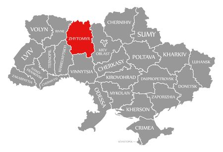 Zhytomyr red highlighted in map of the Ukraine