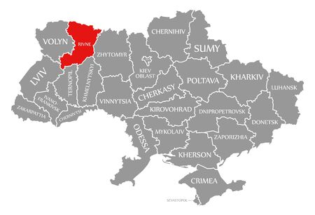 Rivne red highlighted in map of the Ukraine