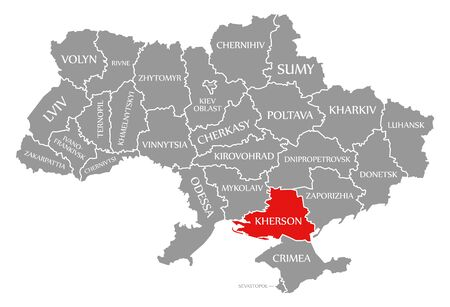 Kherson red highlighted in map of the Ukraine