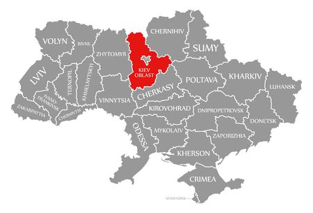 Kiev Oblast red highlighted in map of the Ukraine