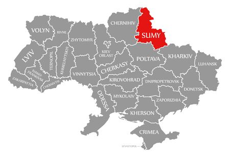 Sumy red highlighted in map of the Ukraine