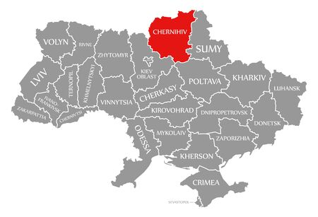 Chernihiv red highlighted in map of the Ukraine
