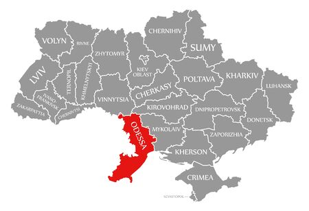 Odessa red highlighted in map of the Ukraine