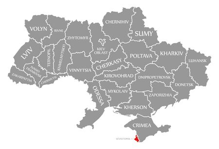 Sevastopol red highlighted in map of the Ukraine