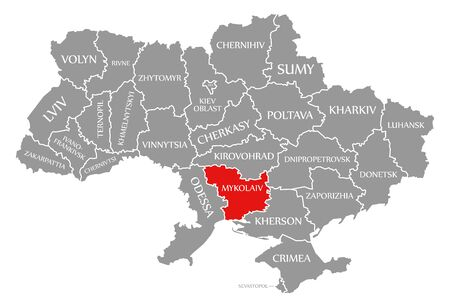 Mykolaiv red highlighted in map of the Ukraine Stock Photo