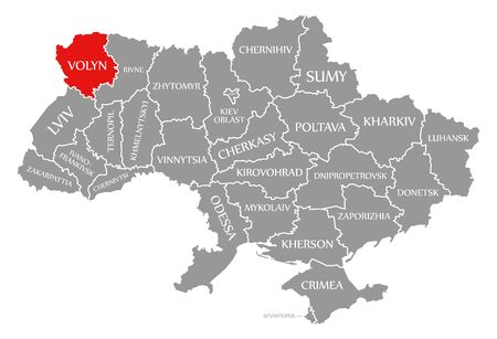 Volyn red highlighted in map of the Ukraine