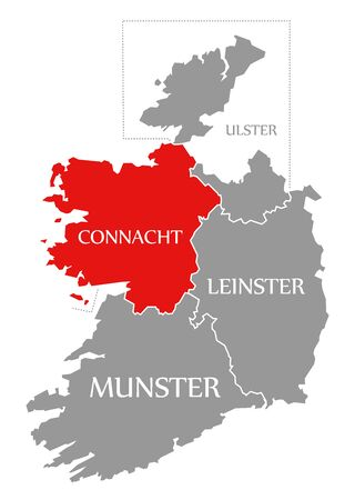 Connacht red highlighted in map of Ireland Reklamní fotografie
