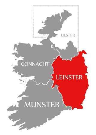 Leinster red highlighted in map of Ireland Reklamní fotografie