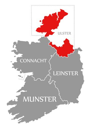 Ulster red highlighted in map of Ireland