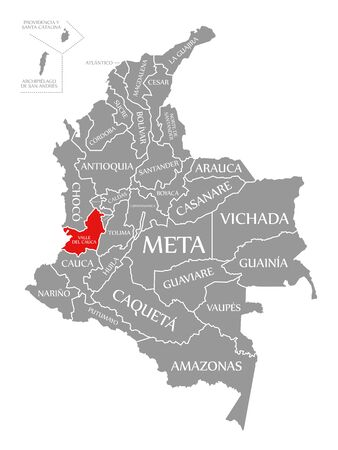 Valle del Cauca red highlighted in map of Colombia