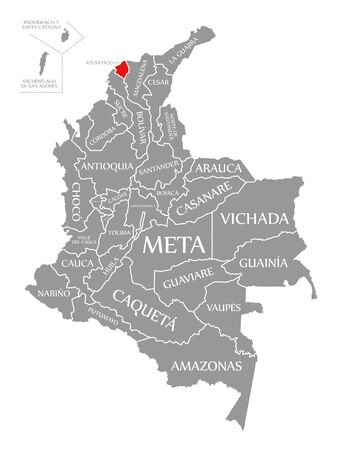 Atlantico red highlighted in map of Colombia