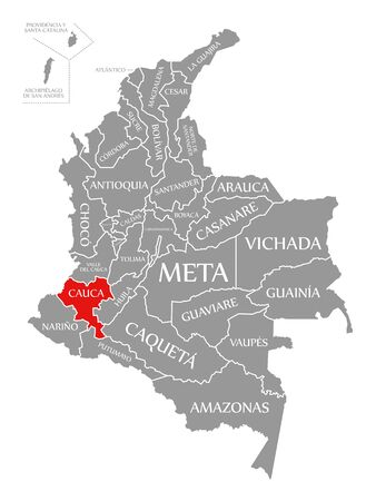 Cauca red highlighted in map of Colombia