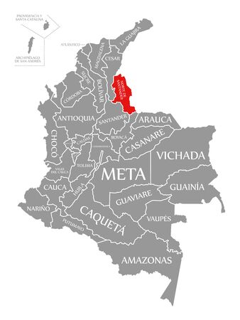 Norte de Santander red highlighted in map of Colombia