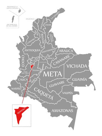 Quindio red highlighted in map of Colombia