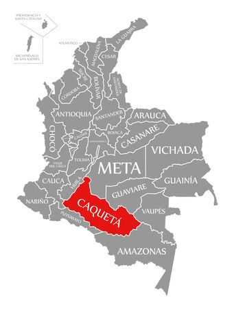 Caqueta red highlighted in map of Colombia