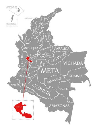 Risaralda red highlighted in map of Colombia