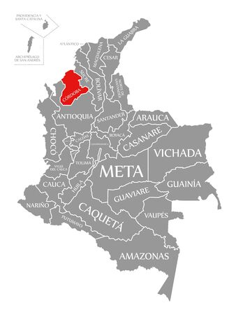 Cordoba red highlighted in map of Colombia