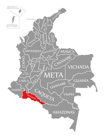 Putumayo red highlighted in map of Colombia