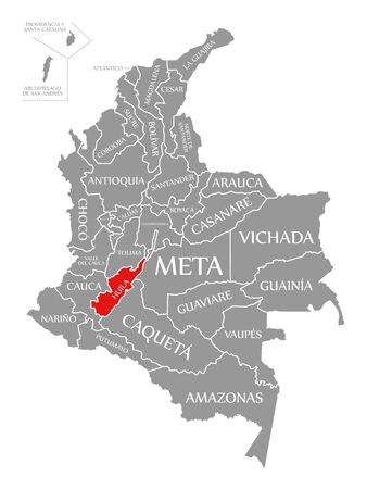 Huila red highlighted in map of Colombia