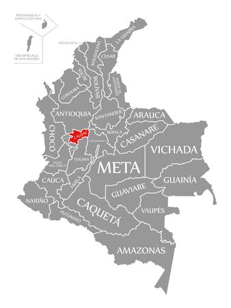 Caldas red highlighted in map of Colombia