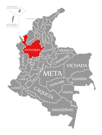 Antioquia red highlighted in map of Colombia