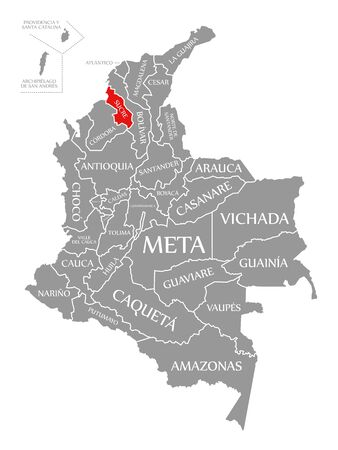 Sucre red highlighted in map of Colombia