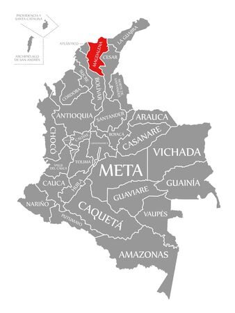 Magdalena red highlighted in map of Colombia