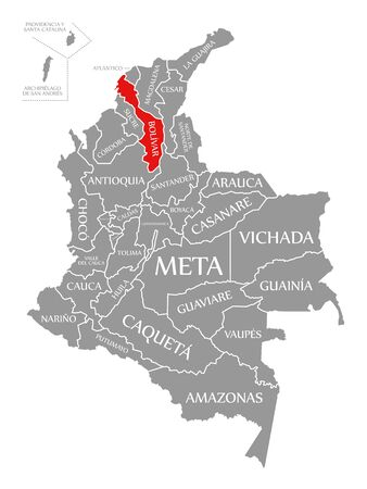 Bolivar red highlighted in map of Colombia