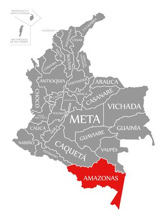 Amazonas red highlighted in map of Colombia