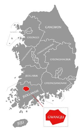 Gwangju red highlighted in map of South Korea
