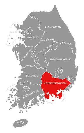 Gyeongsangnam red highlighted in map of South Korea Stok Fotoğraf - 133486490