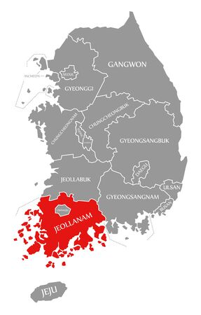 Jeollanam red highlighted in map of South Korea