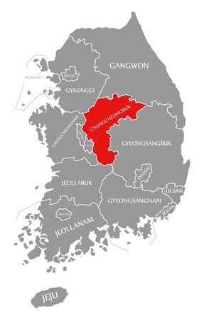 Chungcheongbuk red highlighted in map of South Korea Reklamní fotografie