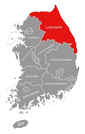 Gangwon red highlighted in map of South Korea