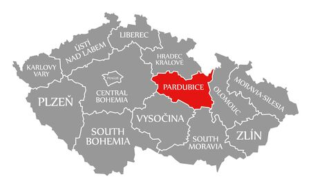 Pardubice red highlighted in map of Czech Republic