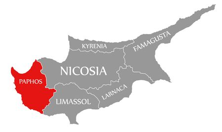 Paphos red highlighted in map of Cyprus