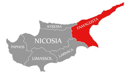 Famagusta red highlighted in map of Cyprus