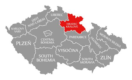 Hradec Kralove red highlighted in map of Czech Republic