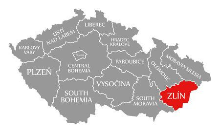 Zlin red highlighted in map of Czech Republic Фото со стока