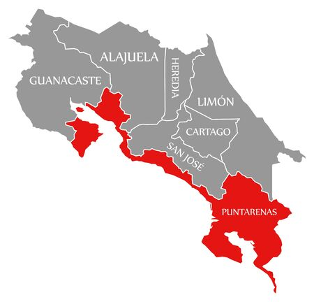 Puntarenas red highlighted in map of Costa Rica