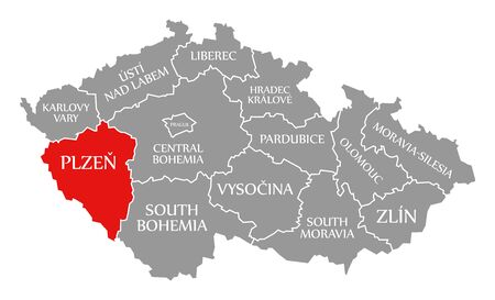 Plzen red highlighted in map of Czech Republic
